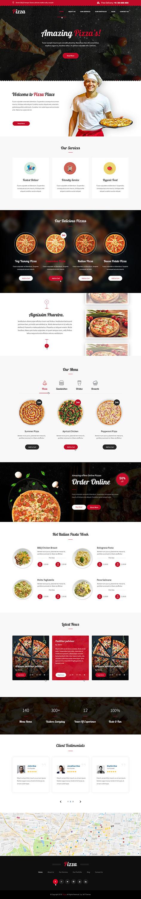 pizza ordering WordPress theme
