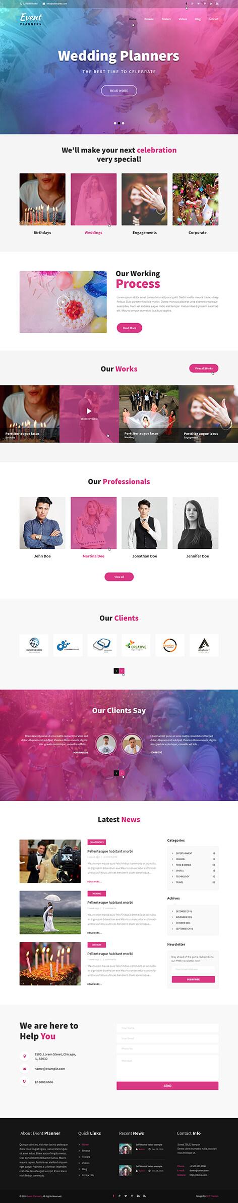 event agency WordPress theme