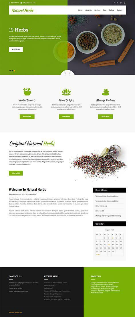 free herbal WordPress theme