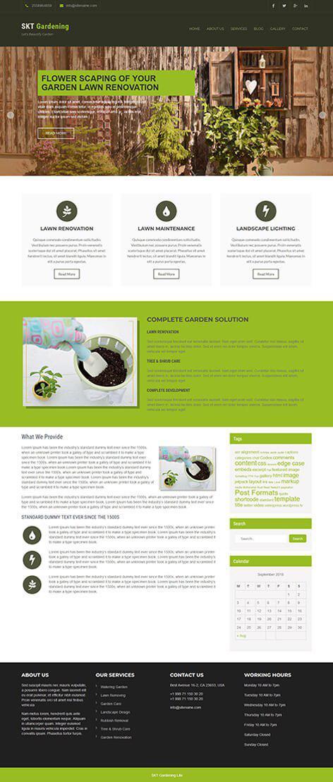 free gardening WordPress theme
