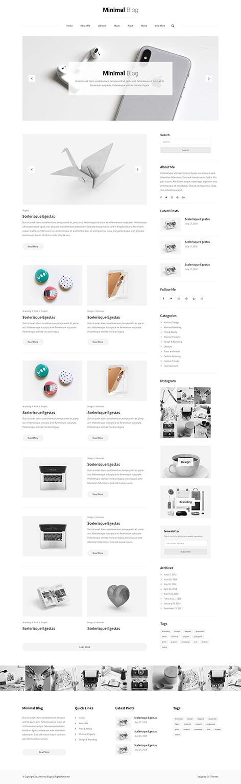 minimalist blog WordPress theme