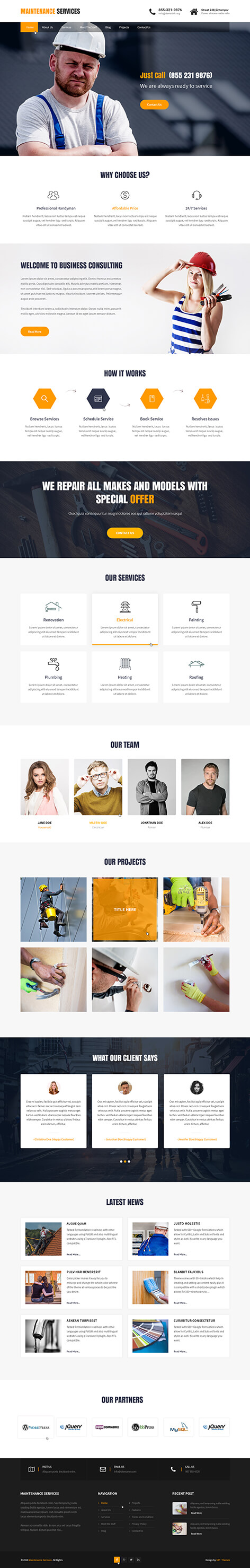 home maintenance WordPress theme