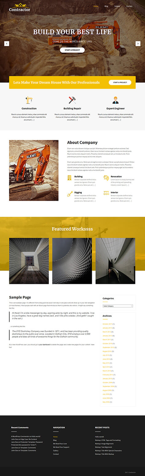 free contractor WordPress theme