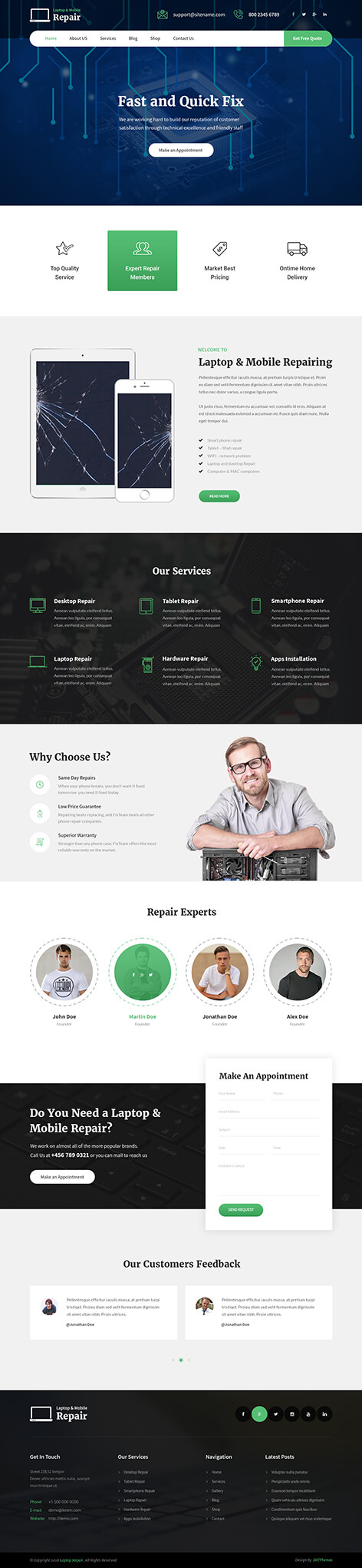 laptop repair WordPress theme