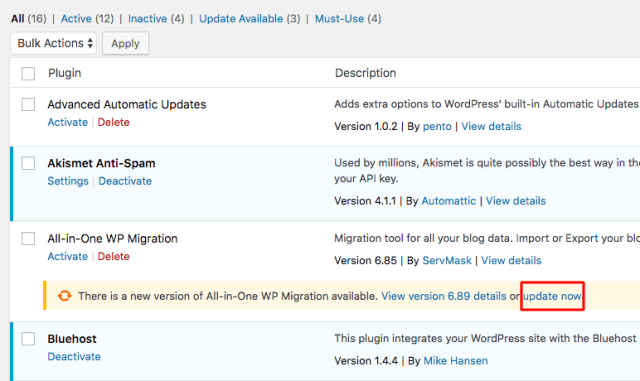 updating your WordPress