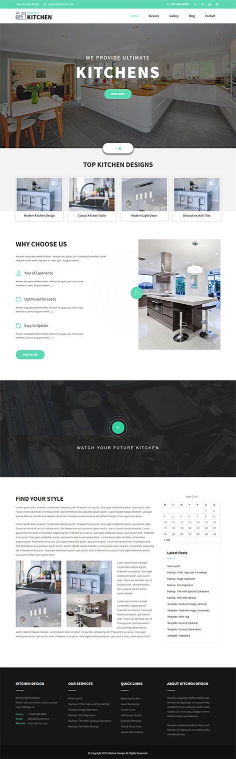 free modern kitchen WordPress theme