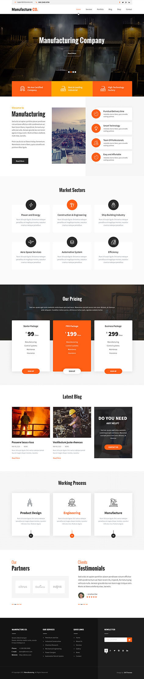 manufacturing WordPress theme