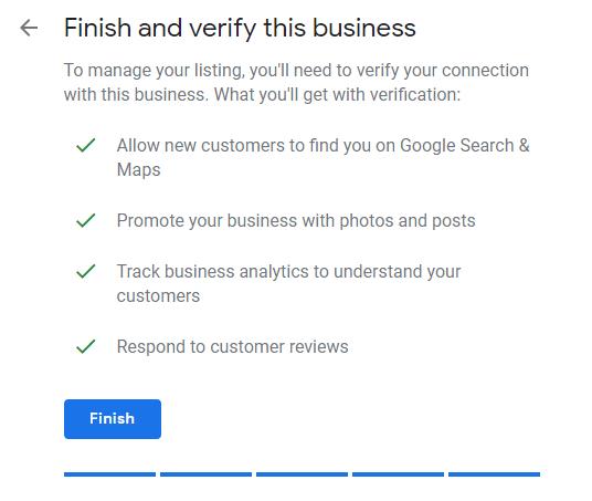 finish verification