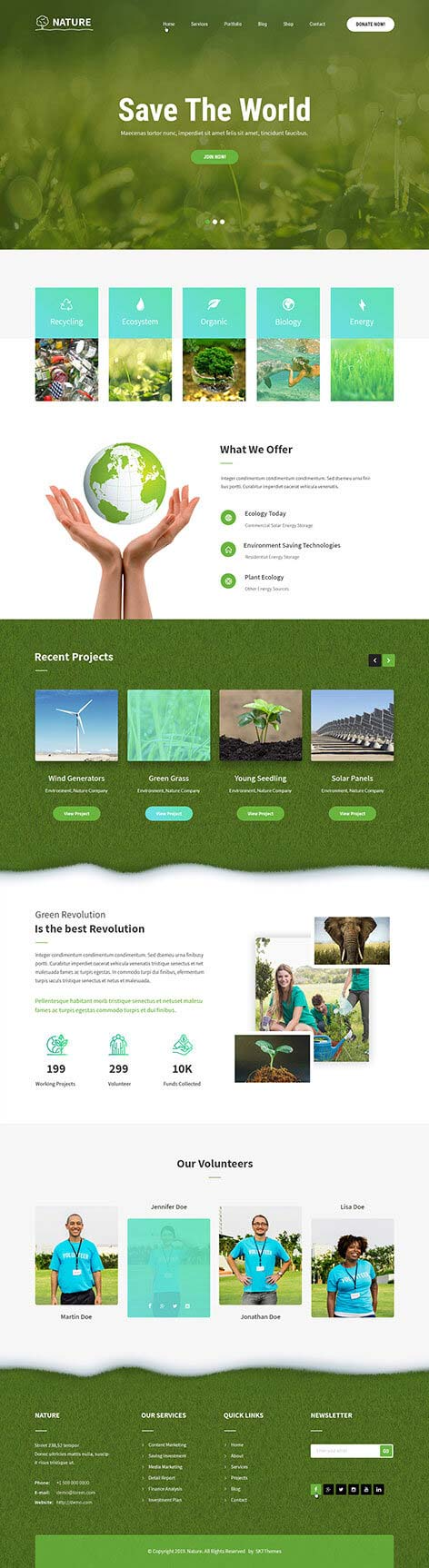 green nature WordPress theme
