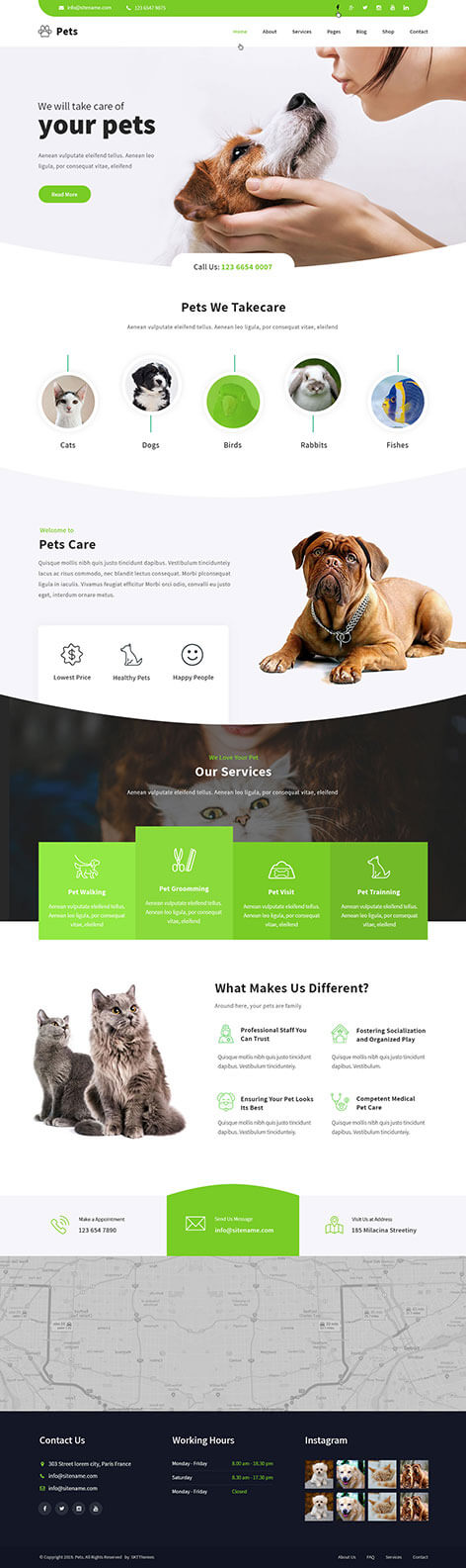 pet care WordPress theme