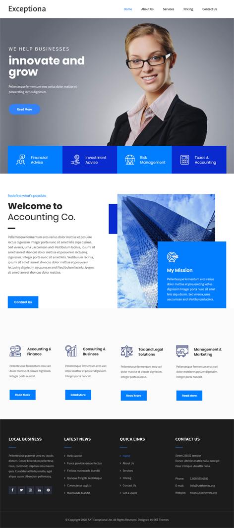 free accounting firm WordPress theme