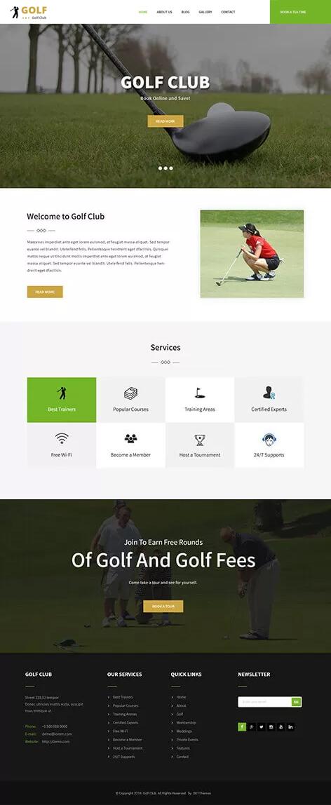free golf WordPress theme