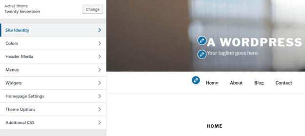 homepage layout in WordPress