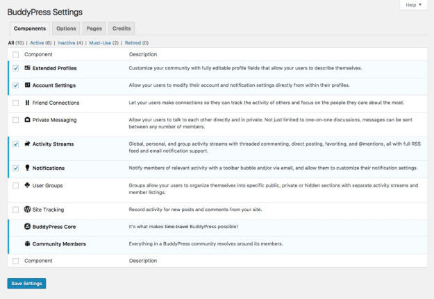 BuddyPress setting
