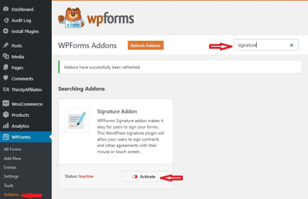 Install your add ons in wpform