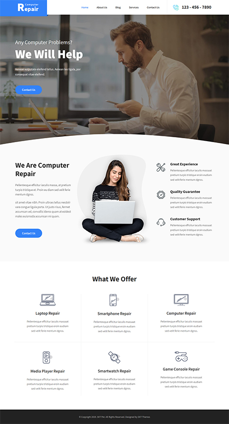 free computer repair WordPress theme