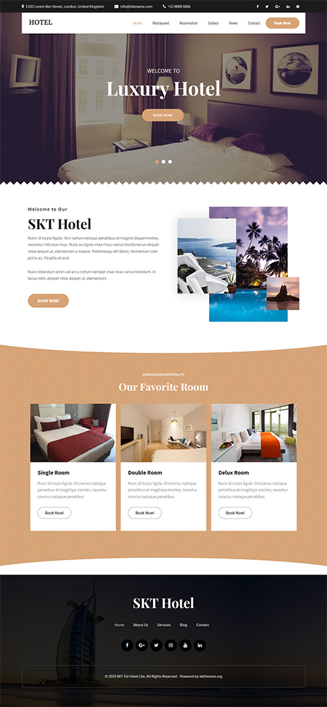 Free Hotel Booking WordPress theme