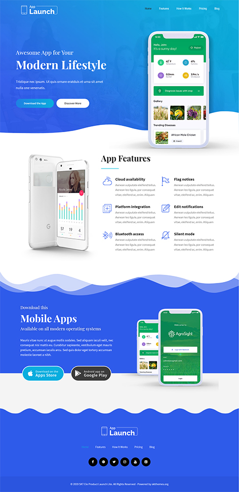free mobile app WordPress theme