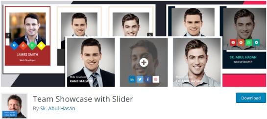team showcase with slider