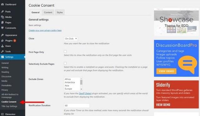 cookie consent plugin