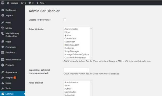 User Admin Toolbar