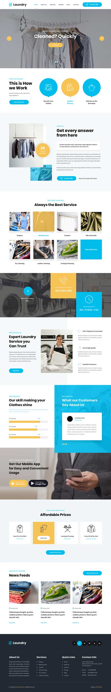 dry cleaning WordPress theme