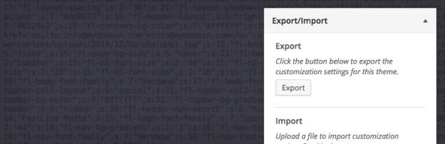 customizer export import