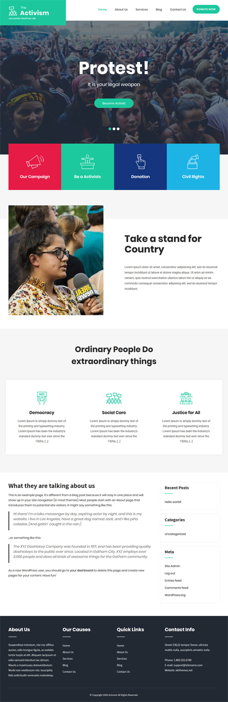 free activism WordPress theme