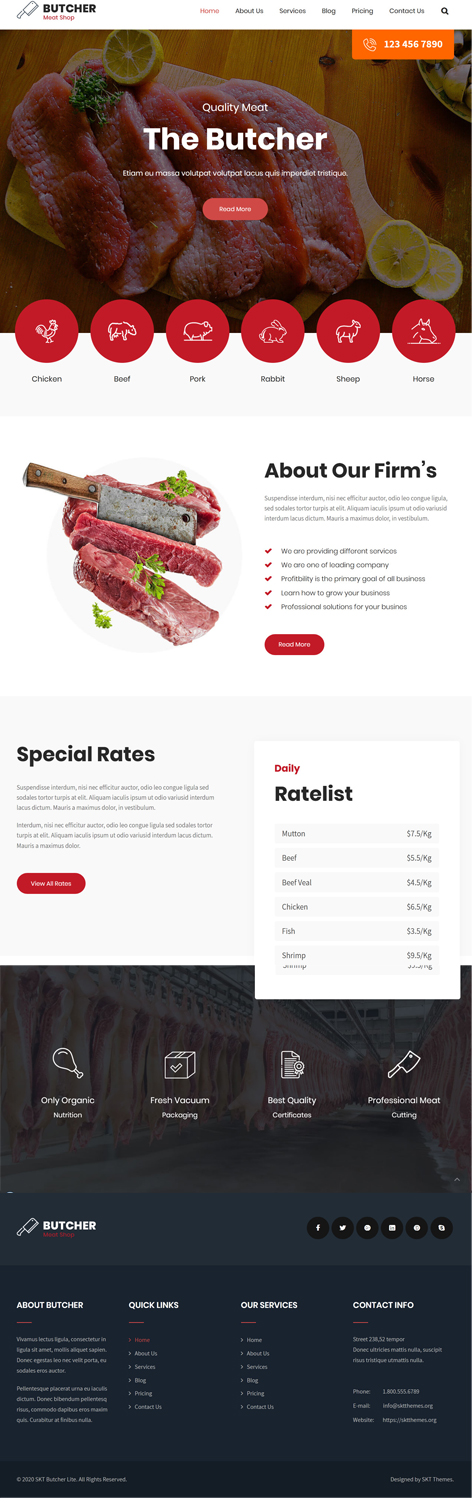 free meat shop WordPress theme