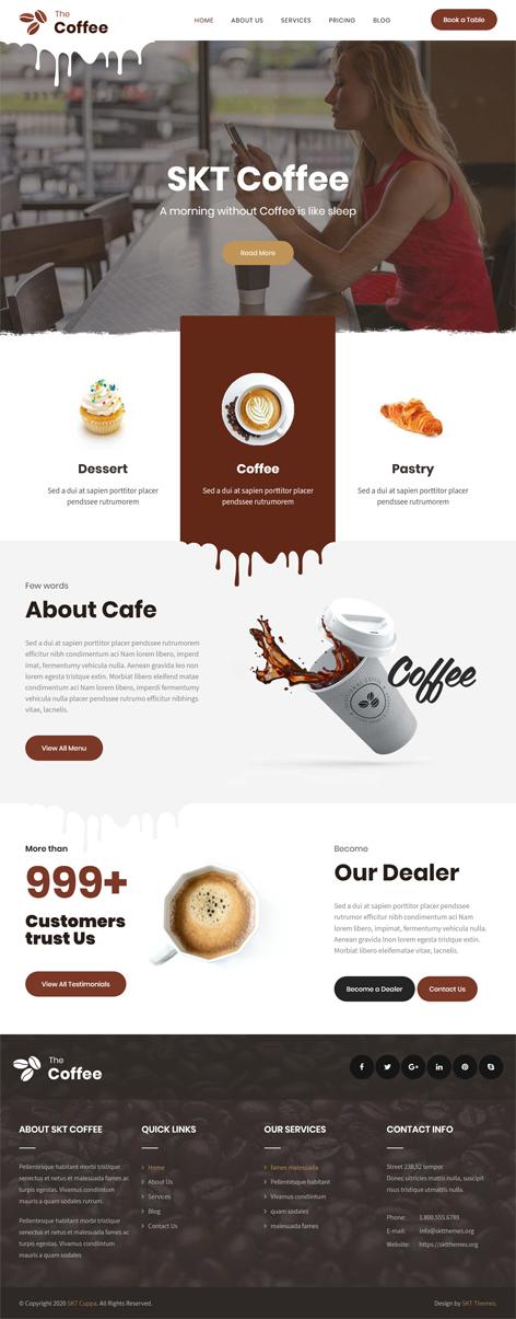 free cafe coffee WordPress theme