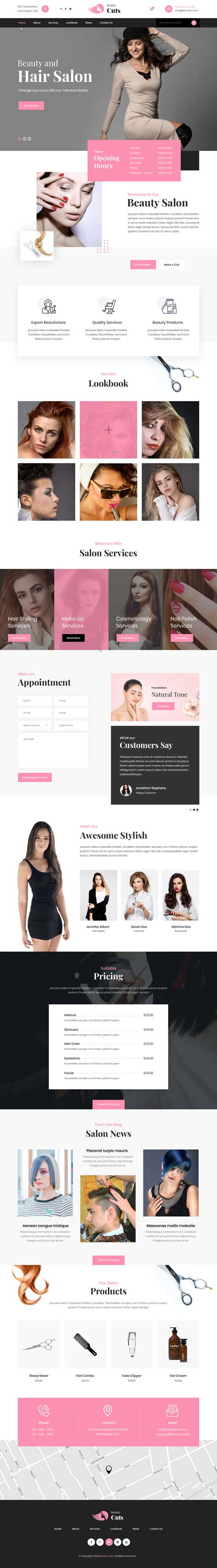 hair salon and hairstyle WordPress theme