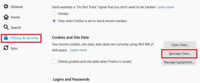 Firefox Site Data action