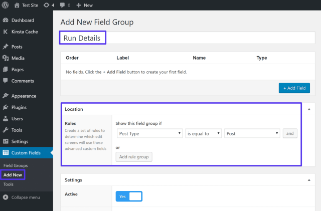 advanced custom fields location