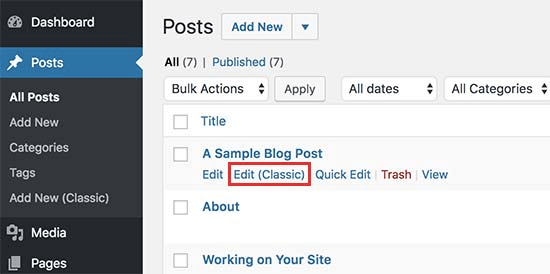 Edit page with classic editor