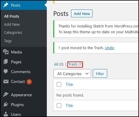 WordPress trash