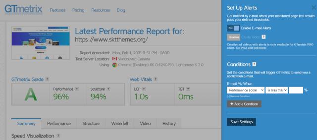 GTmetrix result page