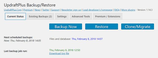 UpdraftPlus plugin Manually Backup