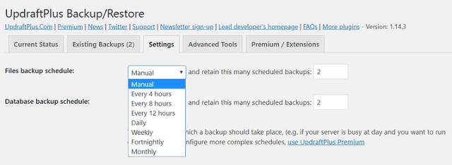 UpdraftPlus plugin Schedule Backup