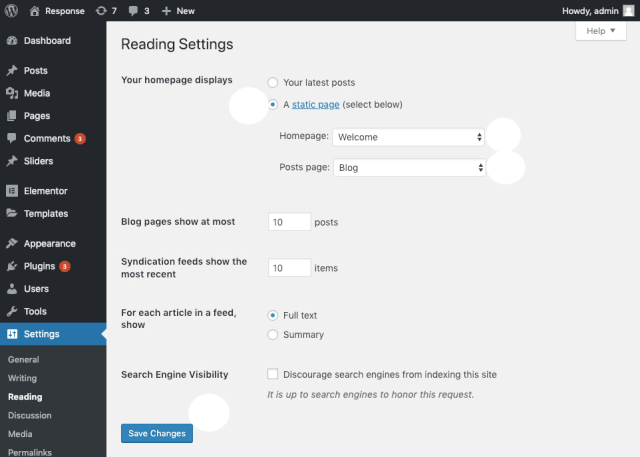 Set a static page as your front page