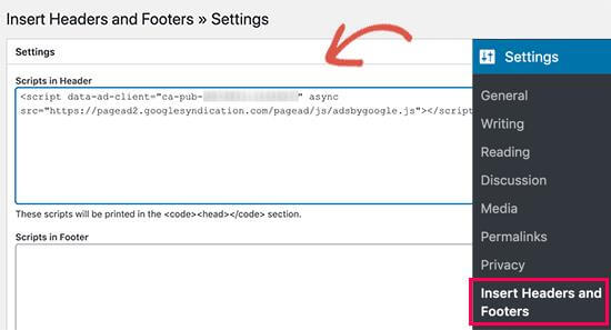 add header footer page