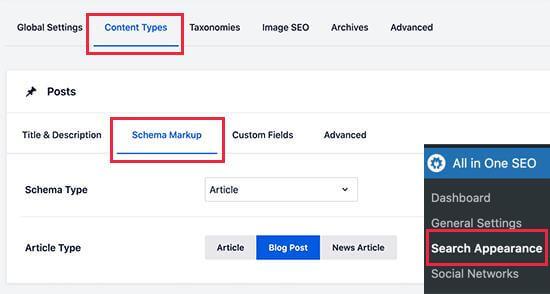 content types schema markup