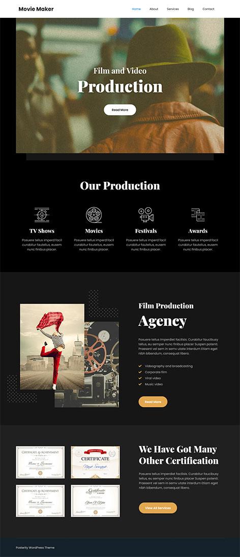 free movie studio WordPress theme
