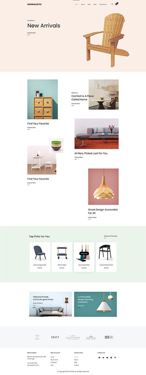 free minimal eCommerce WordPress theme
