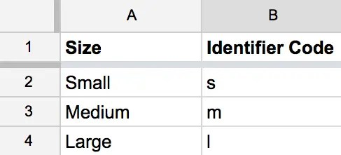 """Spreadsheet with 2 columns. The words """"small, medium, large"""" are in the first column, and the corresponding abbreviations """"s, m, l"""" are in the second column"""