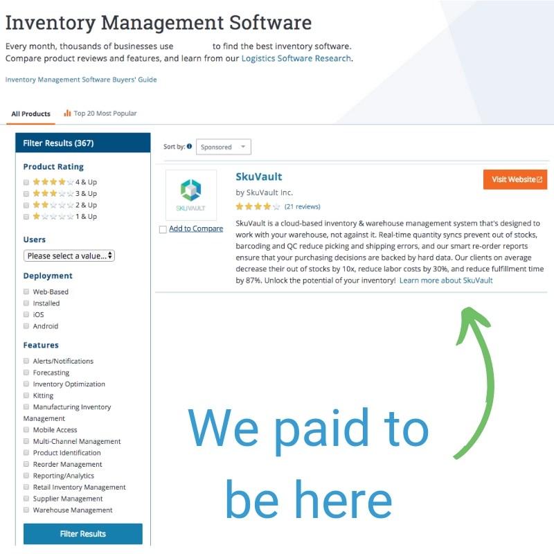 Paid B2B SaaS Listing
