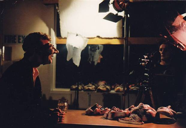 Photo: Courtesy of Darren Walsh. Still from 'Angry Kid' (Aardman Animations). The character Angry Kid uses pixillation, and replacement masks and actors. Here Darren is preparing the actor, and briefing him on how to move in relation to the vocal track.