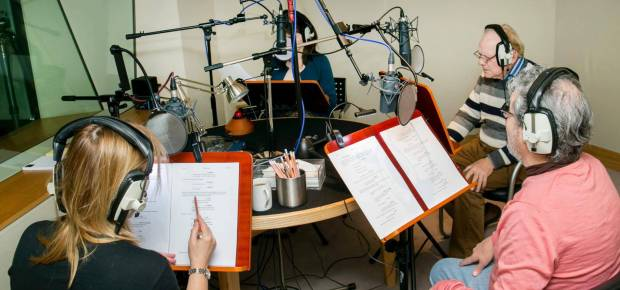 A still from a voice recording session with voice actors Sir David Jason and Jimmy Hibbert. Working with all your voice actors in one session can really help the performances as each of your actors will get to hear the other performances and respond to them, even though you will record each one separately. Photo: Jimmy Hibbert.