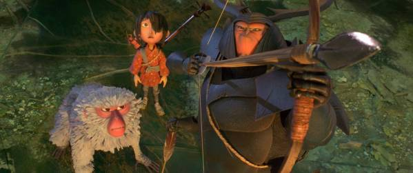 (l-r.) The battle is joined for Monkey (voiced by Academy Award winner Charlize Theron), Kubo (Art Parkinson), and Beetle (Academy Award winner Matthew McConaughey) in animation studio LAIKA's epic action-adventure KUBO AND THE TWO STRINGS, a Focus Features release. Credit: Laika Studios/Focus Features
