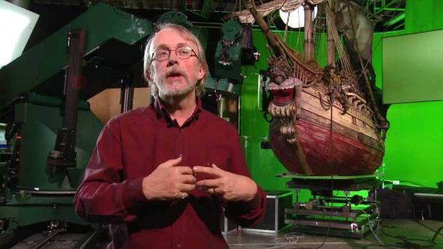 Pete Lord with the giant miniature ship used in Pirates!(2012)
