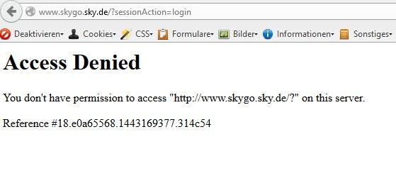 Sky Go Access Denied Fehlermeldung